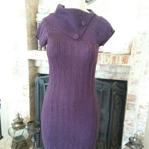 Gold Drama Women's Purple Turtle Neck Dress